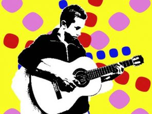Popart design using an image of the singer