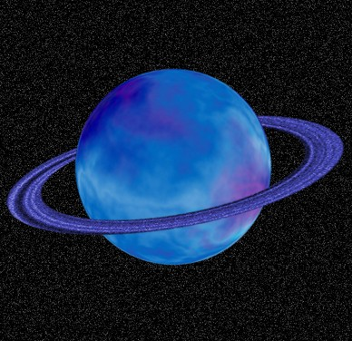 Blue Saturn Planet with Rings in Galaxy
