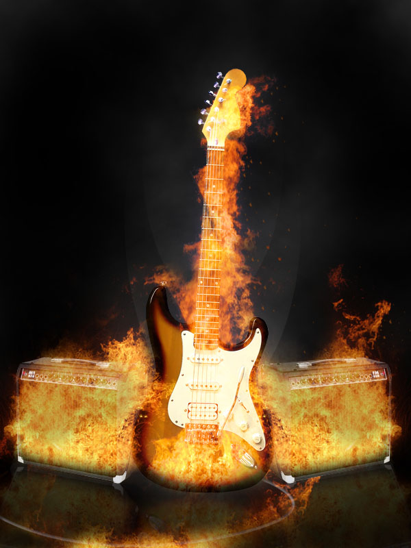 Adding Fire to Create a Realistic Flaming Guitar