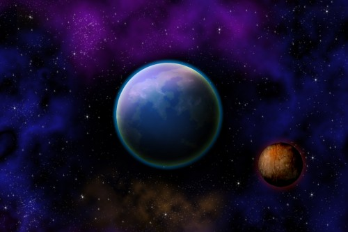 Create a planet and outer space scene drawing techniques for Outer space scene