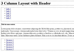 CSS - Three Column Layout with Header -Absolute Positioning