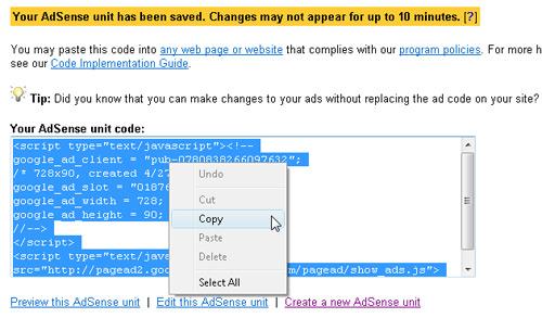 Insert Google Ads with Dreamweaver image 3