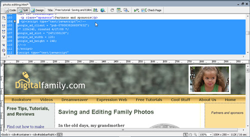 Insert Google Ads with Dreamweaver image 6