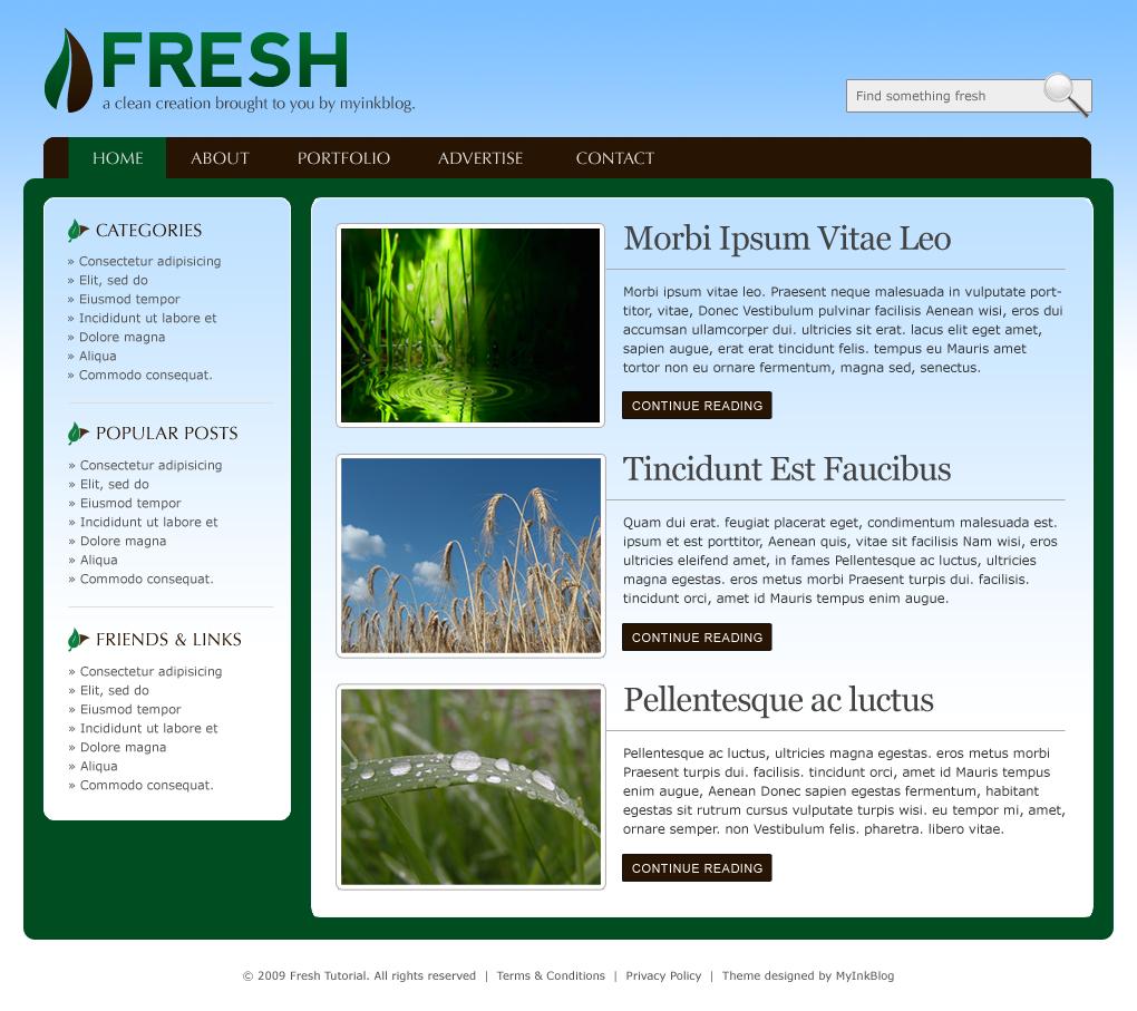 Design a fresh blog theme on the 960 grid web layout for Fresh design blog