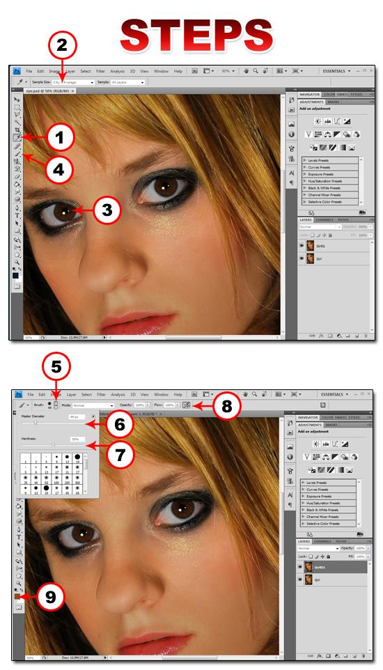 Изменяем цвет глаз в фотошопонлайн