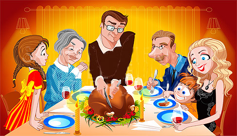 Vector illustration picturing a family at the table on Thanksgiving Day #1652