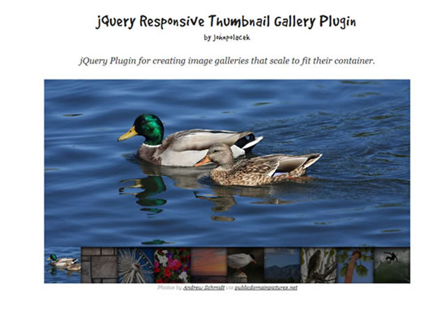jQuery Responsive Thumbnail Gallery Plugin