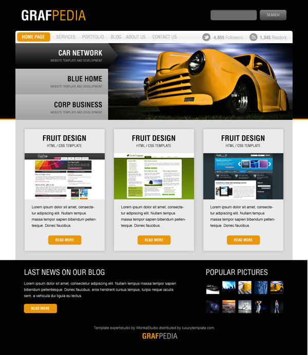 Design a black yellow portfolio with photoshop web layout for Draw website layout online