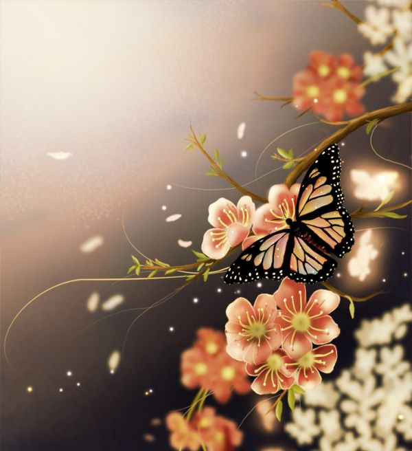 Make a Beautiful Spring Butterfly Scenery