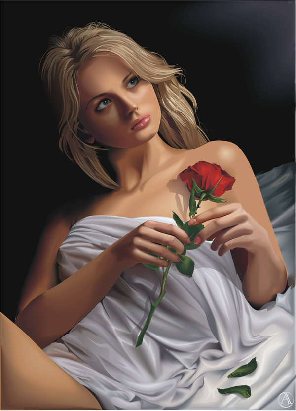 Portrait with a rose vector