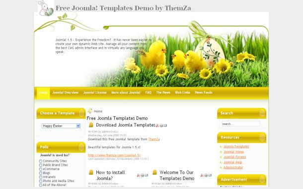 Easter Yellow Free Joomla Theme Template