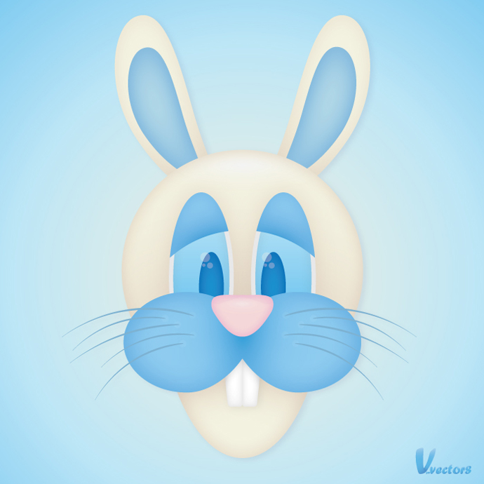 Create the face of a goofy bunny