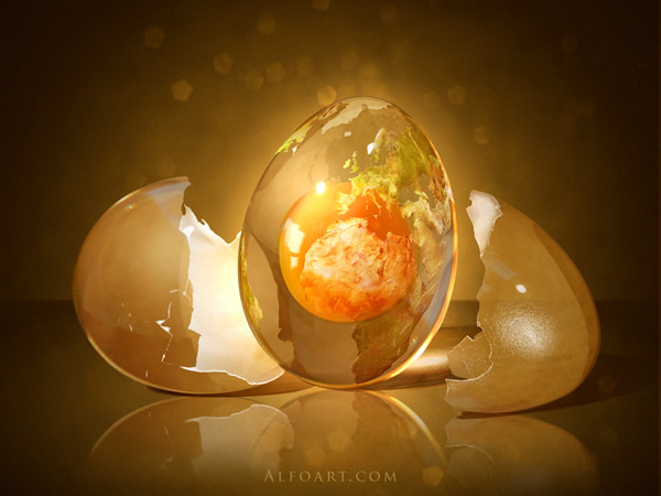 Egg Planet. Fantastic globe photo manipulation
