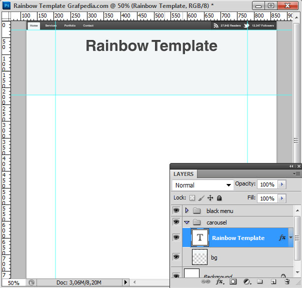 How to design the Rainbow Template with Photoshop - screen 06