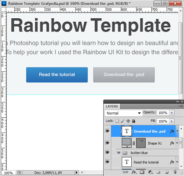 How to design the Rainbow Template with Photoshop - screen 09