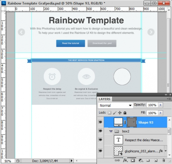 How to design the Rainbow Template with Photoshop - screen 17