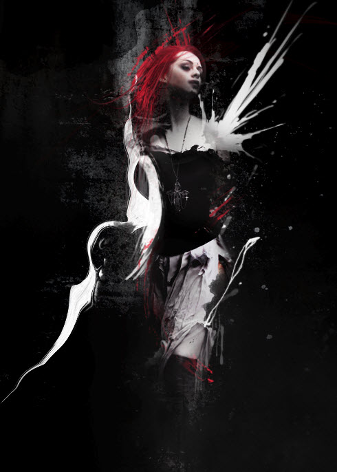 5 overall Create Abstract Dark Photo Manipulation with Splatter Brushes in Photoshop