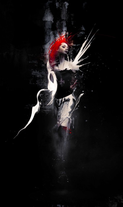 abstract model dark flatten 418x700 Create Abstract Dark Photo Manipulation with Splatter Brushes in Photoshop