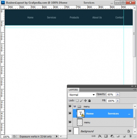 Photoshop tutorial - How To Design A Business Web Layout - step 4