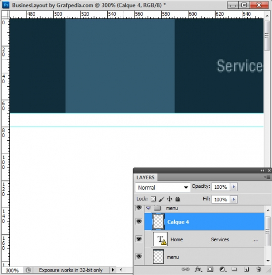 Photoshop tutorial - How To Design A Business Web Layout - step 5