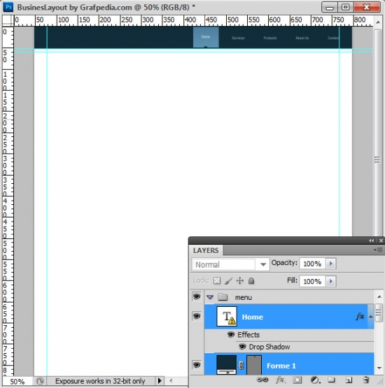 Photoshop tutorial - How To Design A Business Web Layout - step 9
