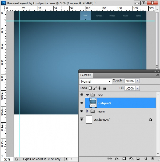 Photoshop tutorial - How To Design A Business Web Layout - step 10