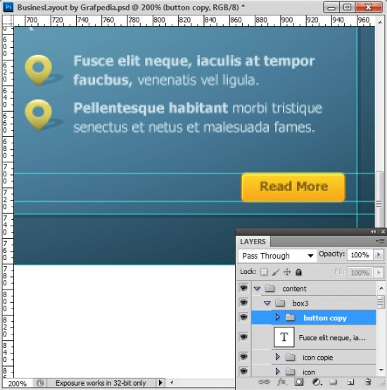 Photoshop tutorial - How To Design A Business Web Layout - step 36