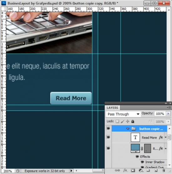 Photoshop tutorial - How To Design A Business Web Layout - step 48