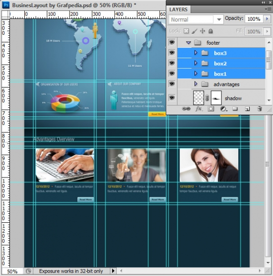 Photoshop tutorial - How To Design A Business Web Layout - step 50