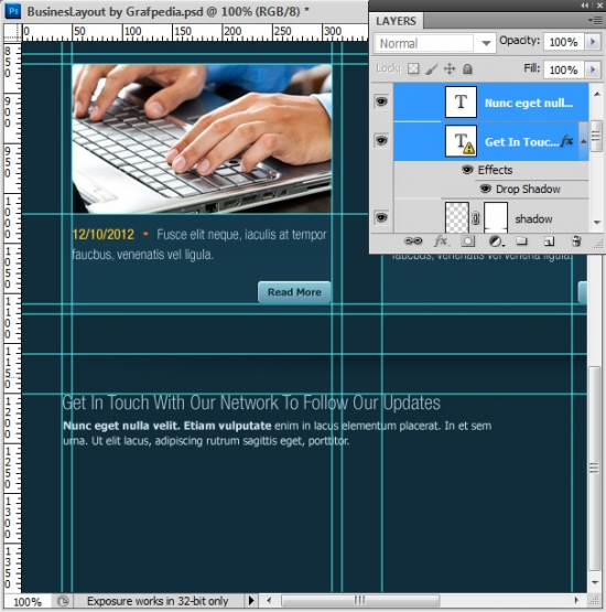 Photoshop tutorial - How To Design A Business Web Layout - step 53