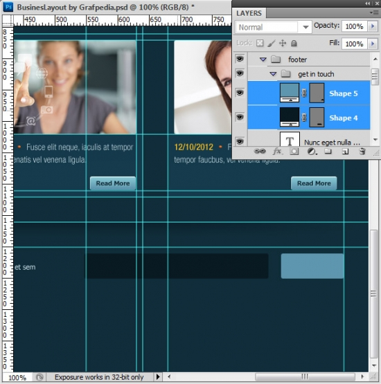 Photoshop tutorial - How To Design A Business Web Layout - step 54