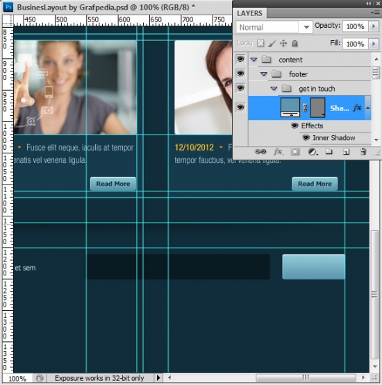 Photoshop tutorial - How To Design A Business Web Layout - step 55