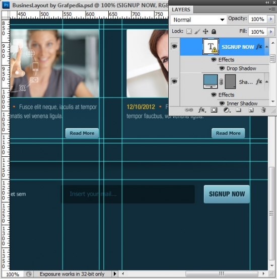 Photoshop tutorial - How To Design A Business Web Layout - step 56