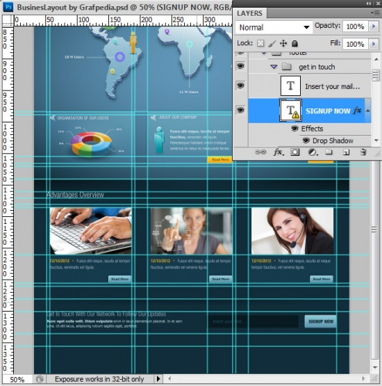 Photoshop tutorial - How To Design A Business Web Layout - step 57