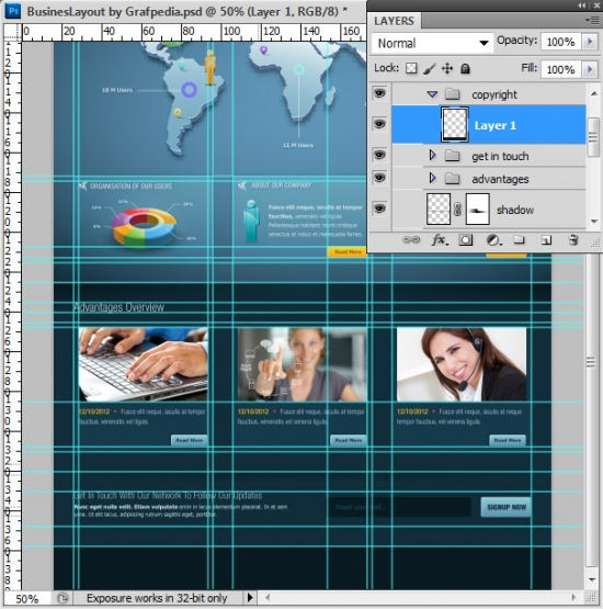 Photoshop tutorial - How To Design A Business Web Layout - step 58