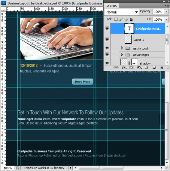 Photoshop tutorial - How To Design A Business Web Layout - step 59