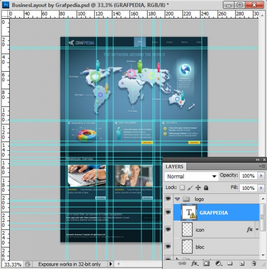 Photoshop tutorial - How To Design A Business Web Layout - step 63