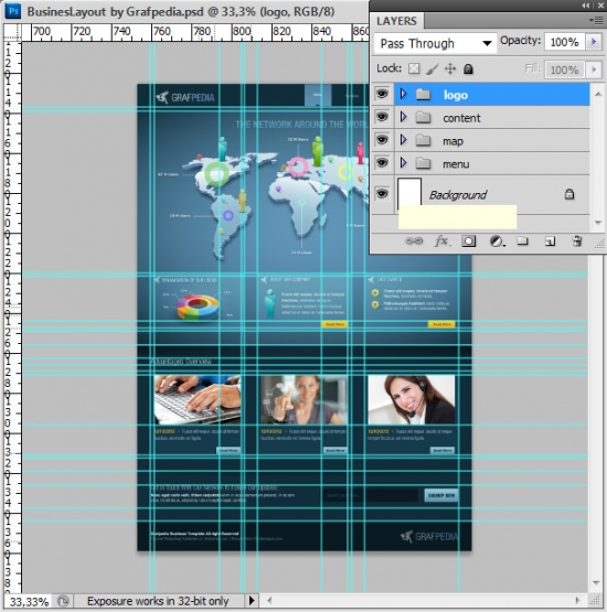 Photoshop tutorial - How To Design A Business Web Layout - step 65