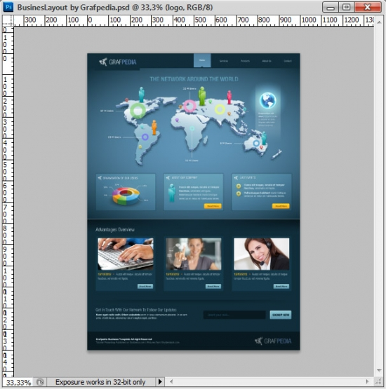 Photoshop tutorial - How To Design A Business Web Layout - step 66