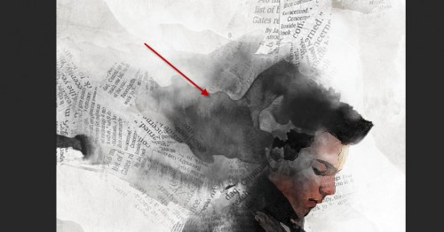 4 paint 500x262 Design Vintage Artwork with Old Newspaper and Watercolor Brush in Photoshop