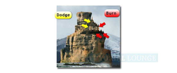 "dodge and burn to ""Bagan Temple"