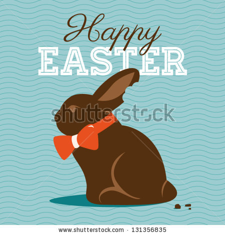 Happy easter card illustration with easter chocolate bunny, easter rabbit and type font
