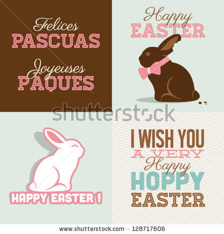 Happy easter cards illustration with easter bunny chocolate, easter rabbit and font