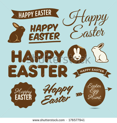Happy easter design elements, badges and labels