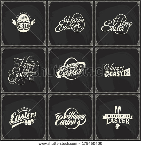 Set of vector label elements of easter holiday on blackboard background. Perfect as template for greeting card