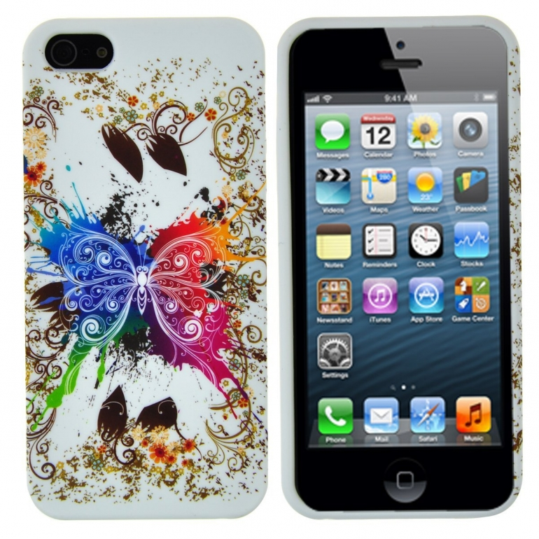 EarlyBirdSavings Colorful Butterfly Soft TPU Silicon Back Case Cover for iPhone 5 5th 5G