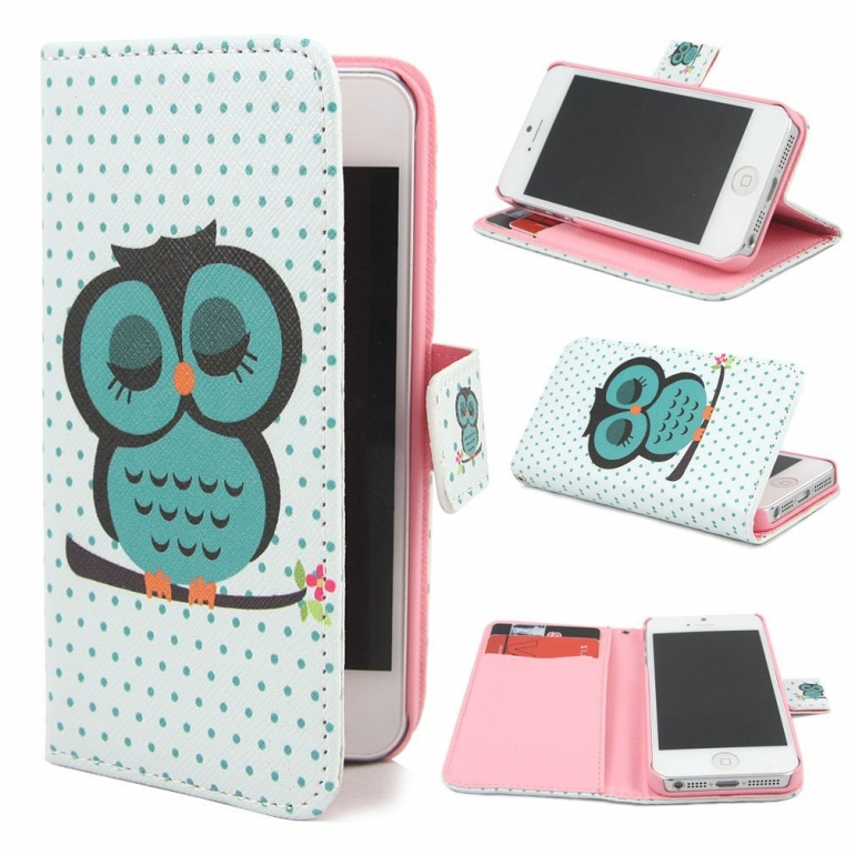 Leathlux Owl Design Wallet PU Leather Flip Case Cover for Apple iPhone 5 5S