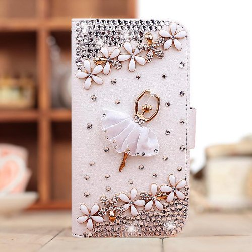 Dancing Girl Diamond Crystal Leather Flip Case Cover for Iphone 5 5s