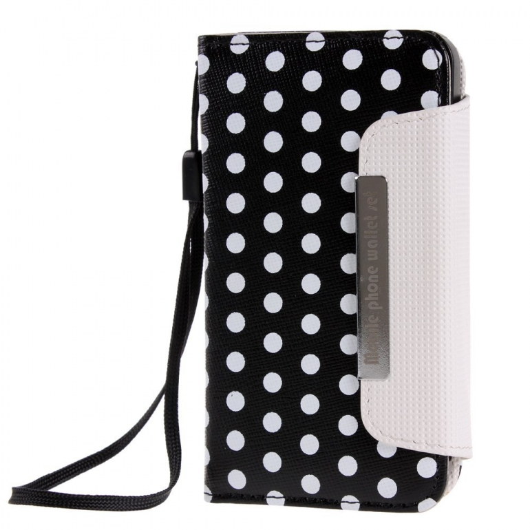 Colorful Polka Dot Wallet Flip Case Pouch Cover for iPhone 4 4s