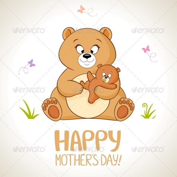 Cute cartoon bear and her child, Mother's day